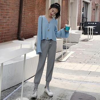 时尚喇叭袖针织上衣休闲裤两件套