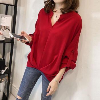 S SKY新款韩版宽松大码蝙蝠袖衬衫