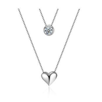 心形锆石双层锁骨项链