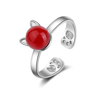甜美兔耳朵 贝珠开口戒指