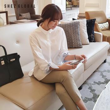 韩版SZ优雅蝴蝶结七分袖白色衬衣
