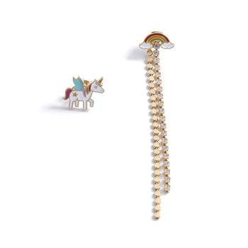 Crocus时尚个性创意搞怪独角兽不对称流苏设计耳钉52549