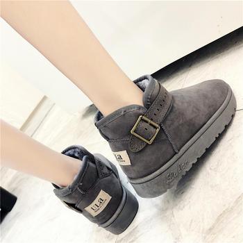 艾微妮新款皮带扣休闲舒适雪地靴