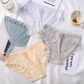 弗领4条蕾丝边内裤女薄款内裤