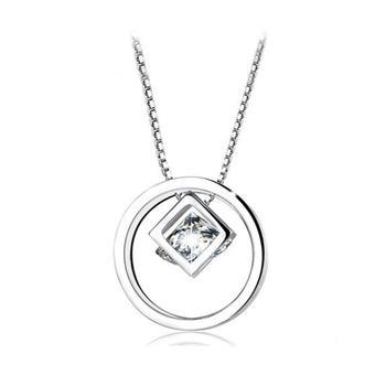 S925银链 魔方圆圈锆石锁骨项链一款三戴