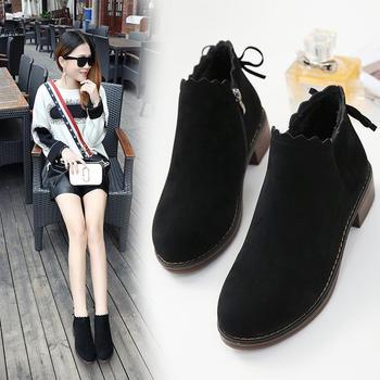 艾微妮新款蝴蝶结系带绒面短靴