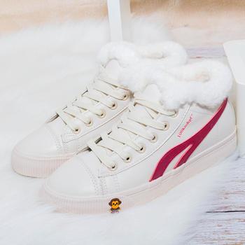 100KM高帮超纤小白鞋加绒保暖棉鞋