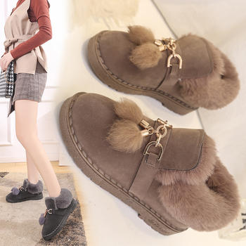 雪地靴女冬短筒韩版加绒短靴