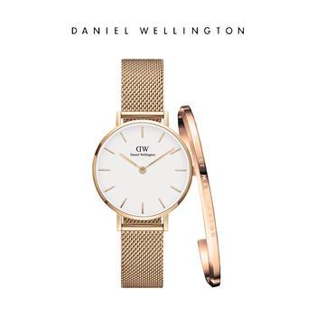 DW 女士28mm玫瑰金钢带白盘手表手镯套装