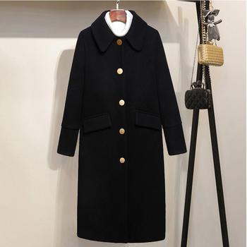 衣织优美 毛呢复古中长款大衣
