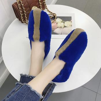 ADK毛毛鞋秋季新款时尚拼色平底鞋