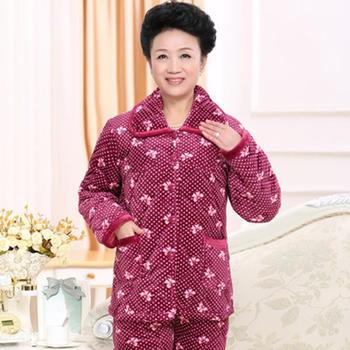 麦晴芊芊蝶结珊瑚绒夹棉加厚套装