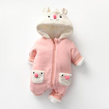 罗町女宝宝冬款加厚夹棉哈衣