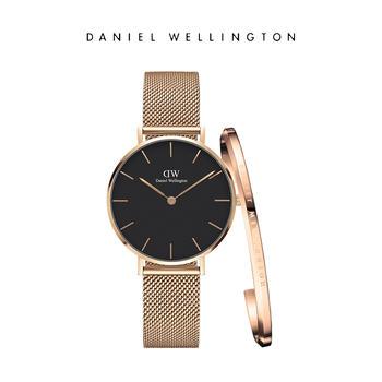 DW 女士32mm玫瑰金钢带黑盘手表手镯套装