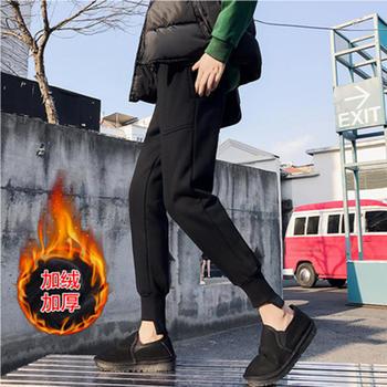 泽依黑色加绒运动裤女秋冬哈伦裤