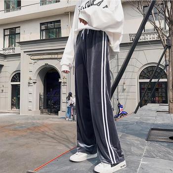 咸素金丝绒阔腿裤高腰直筒裤