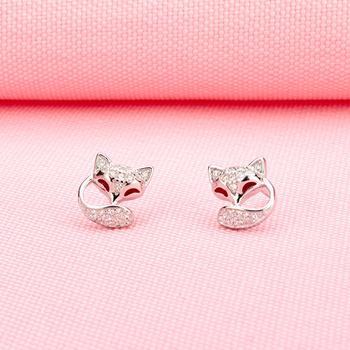 925银锆石小狐狸耳钉