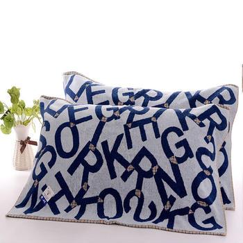 金号纯棉字母耐脏枕巾2条装