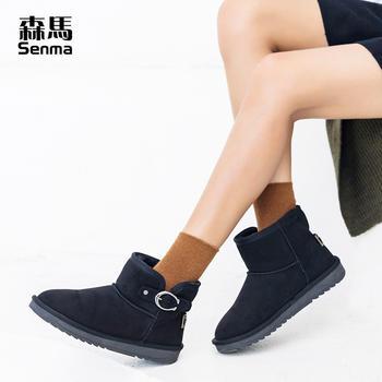 森马女靴子雪地靴中筒短靴加绒