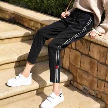 新款高腰宽松侧条纹呢子裤九分运动休闲裤子