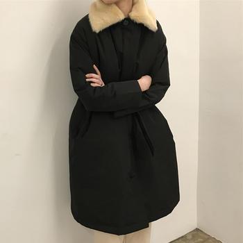 衣织优美  时尚防风防水长款棉服