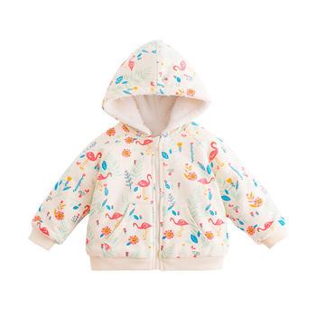 宝然婴儿加绒外套冬装棉服连帽衣