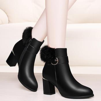 靴子女鞋秋冬季新款粗跟短靴