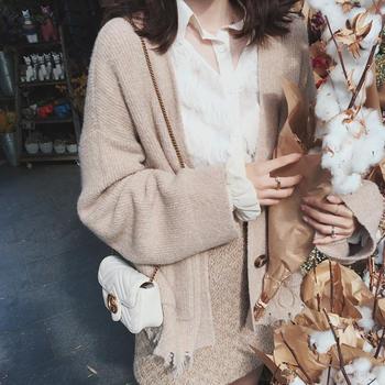 金蘑菇菇  可咸可甜的破破开衫 宽松短款长袖针织外套