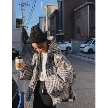 雪梨钱夫人 格子羽绒服