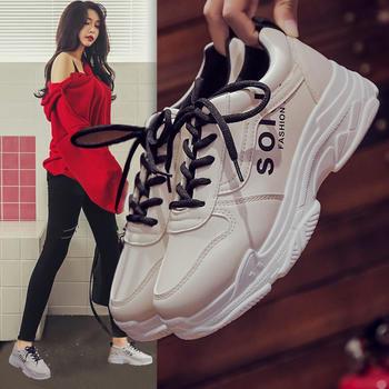艾微妮新款时尚系带皮质运动鞋