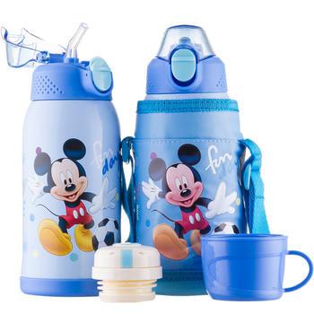 迪士尼儿童双杯盖两用一键耐摔杯盖吸管保温杯600ml