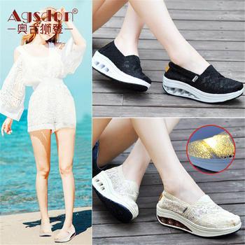 奥古狮登女鞋夏季蕾丝韩版休闲鞋厚底摇摇鞋增高懒人