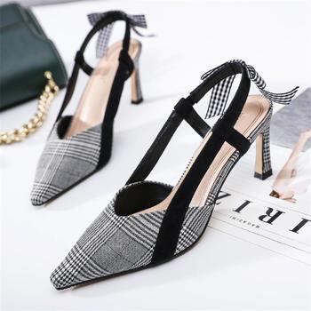 奥古女鞋夏季尖头高跟时尚鞋短靴千鸟格时尚显瘦凉鞋