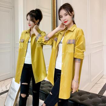 ZZDZ新款韩版宽松纯色灯芯绒衬衫