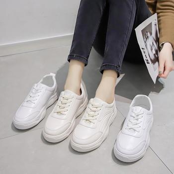 艾微妮新款简约学院风系带小白鞋