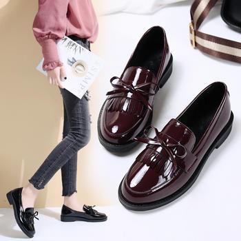 艾微妮韩版蝴蝶结皮鞋女鞋单鞋