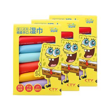 海绵宝宝儿童婴儿绵柔手口湿巾/湿纸巾 64片×3盒限期20.11特价