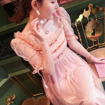 余潇潇甜美网纱泡泡袖公主连衣裙