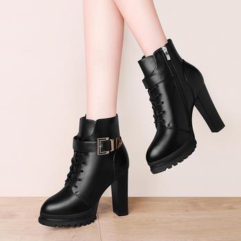 英伦风粗跟鞋子短靴秋冬季马丁靴