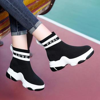 休闲运动冬鞋新款加绒松糕底袜靴
