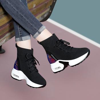 女新款冬季加绒厚底内增高袜子鞋