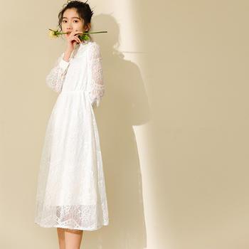 纯诗曼少女风白色仙女蕾丝连衣裙