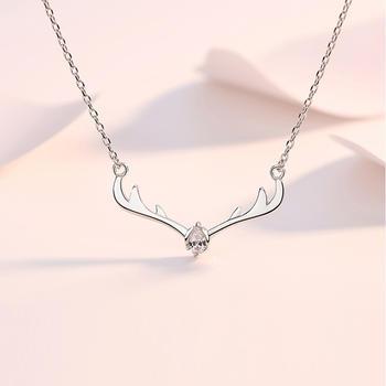 S925纯银一鹿有你锁骨项链时尚气质百搭