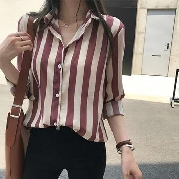 S SKY胖妹?#27599;硭上?#30246;条纹衬衫女长袖上衣大码打底衫