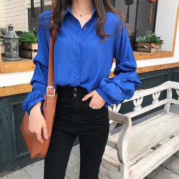S SKY新款韩版气质泡泡长袖衬衫女