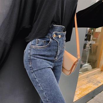 KDN小腳褲緊身港味復古高腰牛仔褲女chic不規則女裝