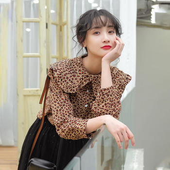 2019春新款文艺小清新豹纹时尚衬衣