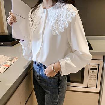S SKY新款蕾丝娃娃领雪纺衬衫女宽松韩版衬衣长袖