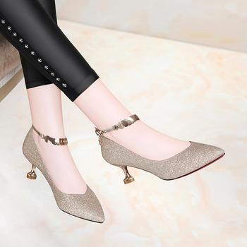 女鞋新款春季婚鞋细跟中跟高跟鞋