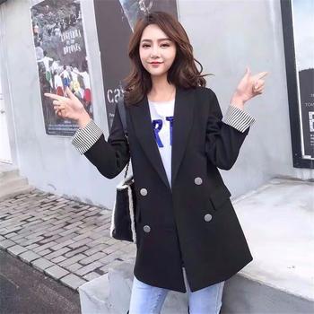 KDN女新款中长款韩版休闲西装外套显瘦西服上衣